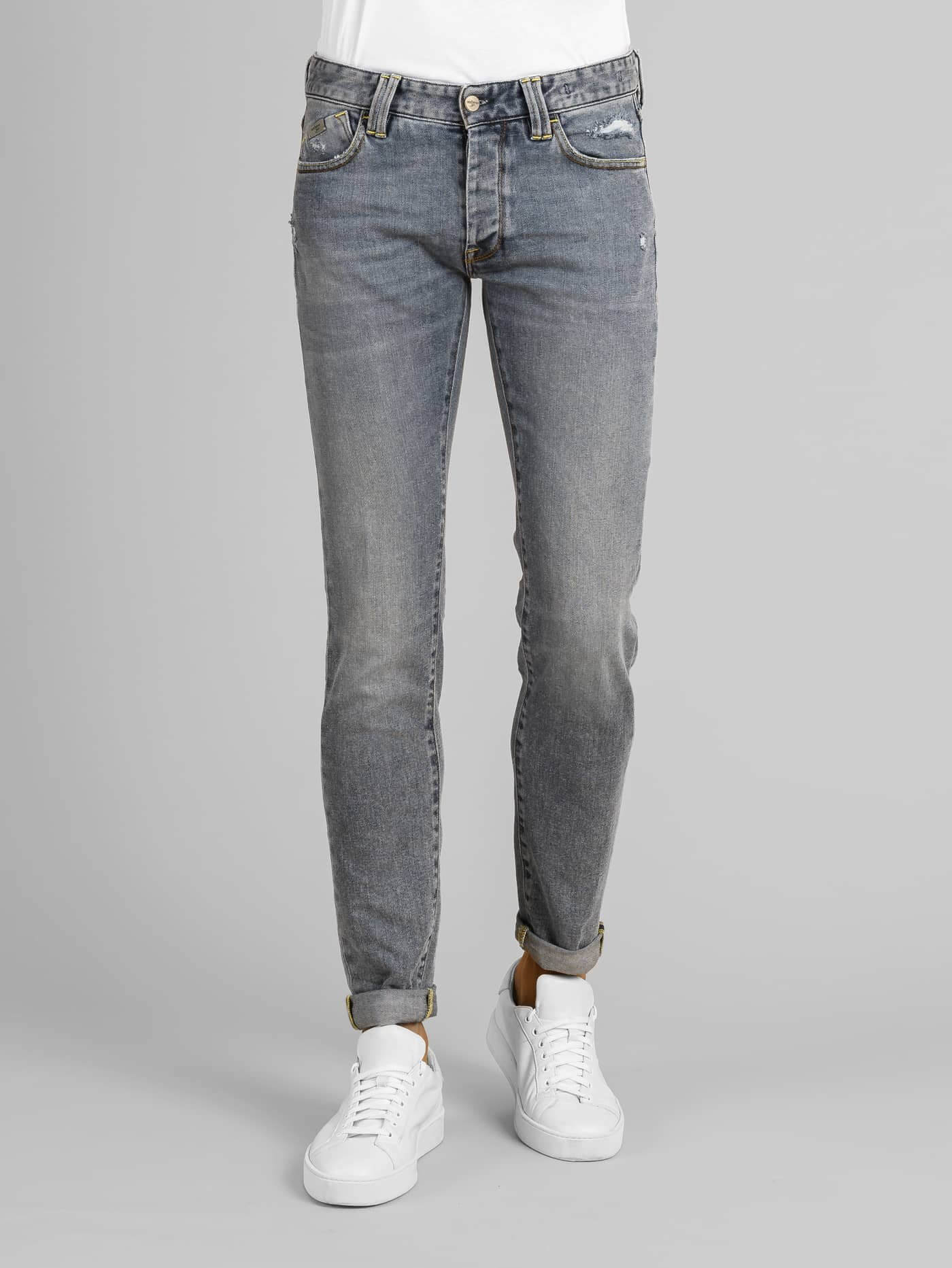 Denim Tood Stone Washed Stretch Cuciture Contrasto
