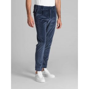 Pant. Tom Blu Indaco Velluto Tinto Filo Stretch