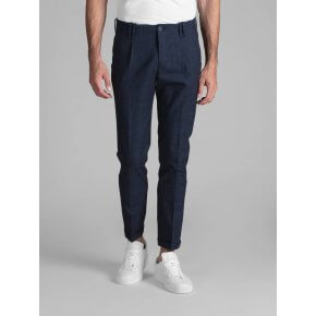 Pantalone Tom Cotone Blu Finestrato Bordo'