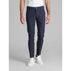 Pantalone Clay Cotone Blu Finestrato Bordo'