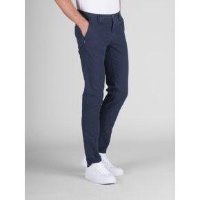Pantalone Clay Blu Cotone Operato Stretch