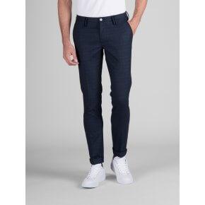 Pantalone Clay Quadro Blu Cotone-Lana Stretch