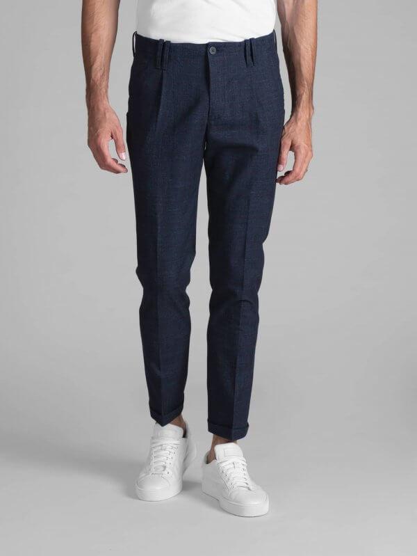 Pantalone Tom Cotone Blu Finestrato Bordo'