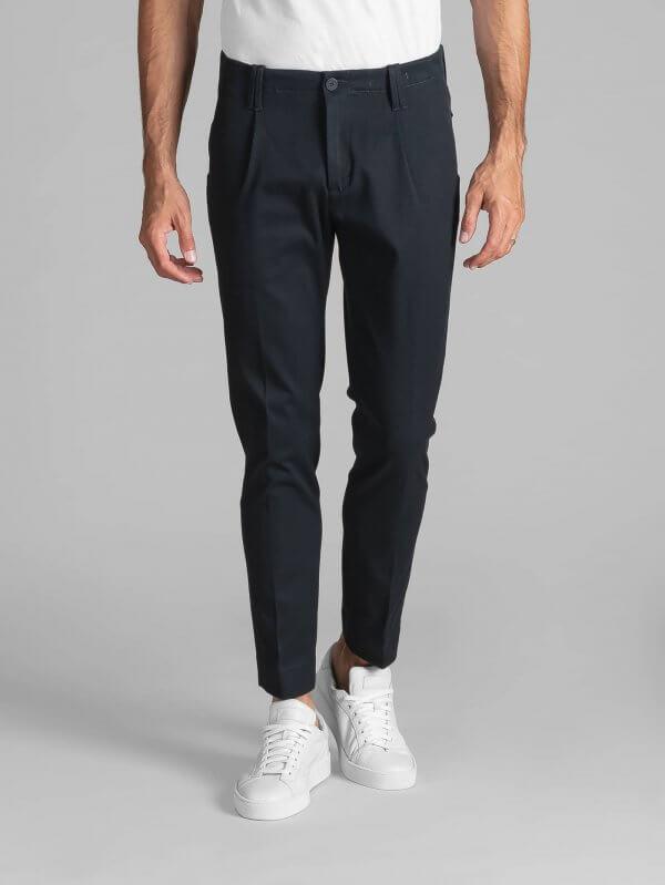 Pantalone Tom Blu Cotone Diagonale Japan Stretch.