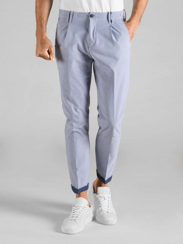 Pantalone Tom Goffrato Bastoncino Contrasto Blu