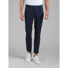 Pantalone Tom Goffrato Blu Microfantasia Quadretto