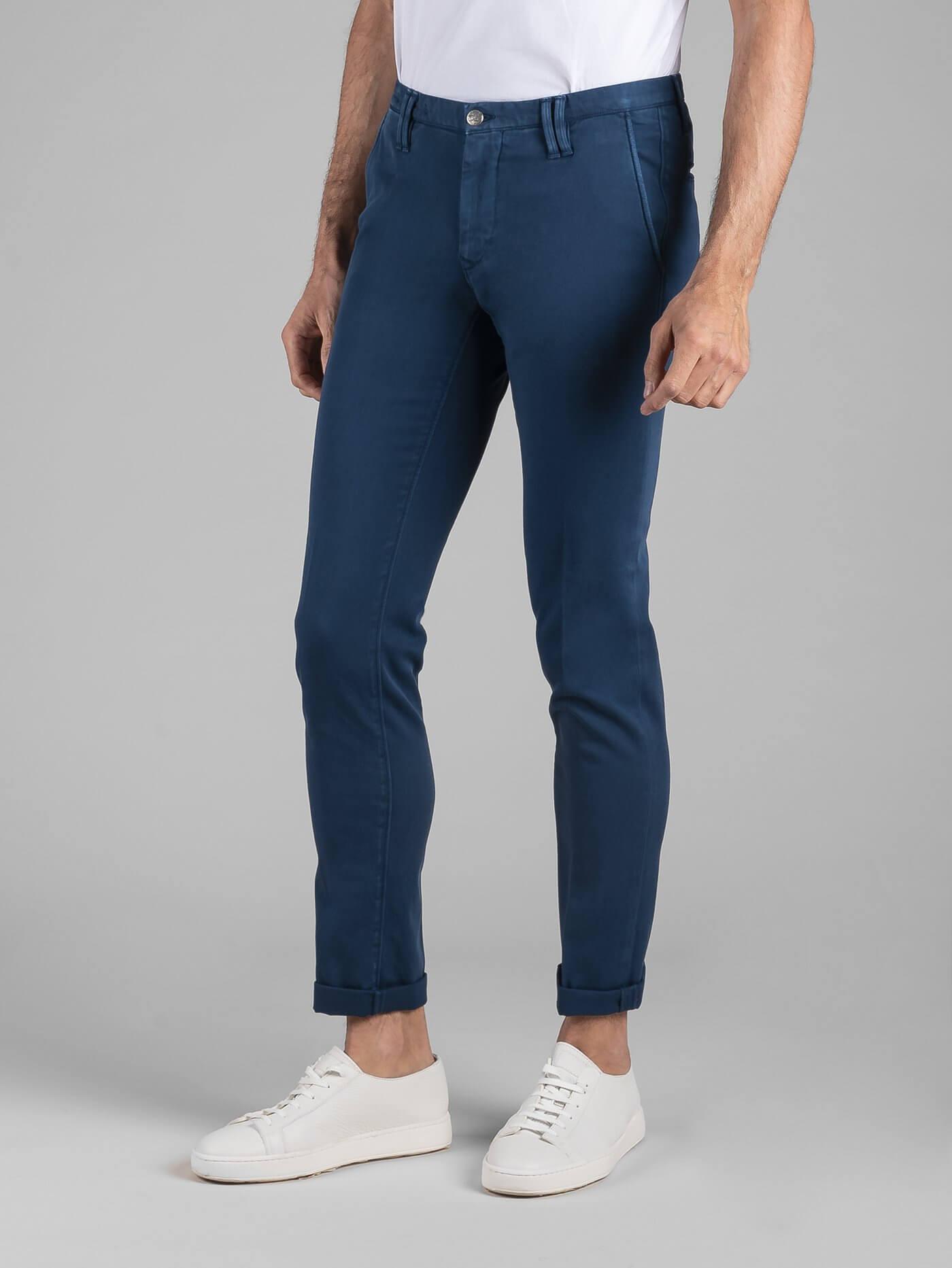 Pantalone Clay Gabardina Diagonale Stretch Oceano